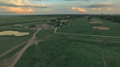 Aerial view of Dayton lightrail station in Dnver, Colorado. Stock Footage