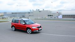 New Skoda Yeti on the test circuit Stock Photos