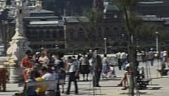 San Sebastian 1976: people walking downtown Stock Footage