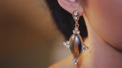 close-up luxury earrings - stock footage