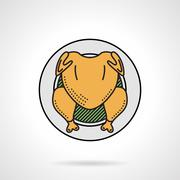 Roasted chicken flat color vector icon - stock illustration