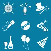 Party and entertainment icons Stock Illustration