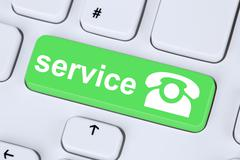 Service customer hotline telephone symbol on computer keyboard Stock Illustration