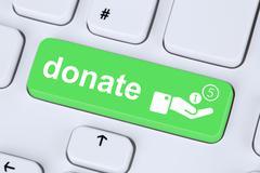 Donate money donation symbol on computer keyboard Stock Illustration