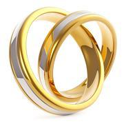 Pair of Golden Platinum Wedding Rings Isolated on White Background Stock Illustration