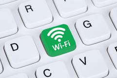 Wi-Fi or WiFi hotspot connection internet computer Stock Illustration