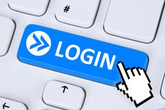 Login button submit with password on internet computer Stock Illustration