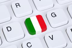 Italy flag internet on computer keyboard - stock illustration