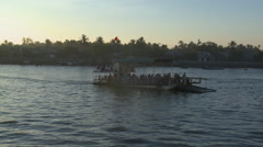 Mekong river in Can Tho and rising sun Stock Footage