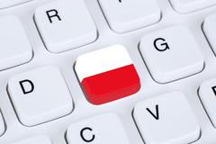 Poland flag internet on computer keyboard - stock illustration