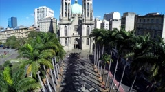 Aerial view of Sé Cathedral in Sao Paulo, Brazil - stock footage