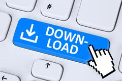 Download program or app button symbol on computer keyboard Stock Illustration