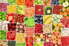 Vegan vegetarian fruits and vegetables background with tomatoes, lemons, appl - stock photo