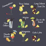 Vector Illustration of Different Drinks and Cocktails Stock Illustration