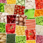 Vegan and vegetarian vegetables background with tomatoes, paprika, herbs, mus - stock photo