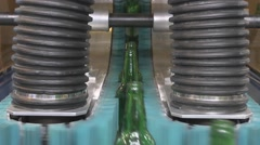 Movement of glass bottles Stock Footage
