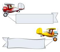 Cartoon Biplane - stock illustration