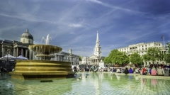 Timelapse view of Trafalgar square, London Stock Footage