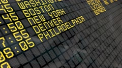 4K - Airport Departure Board with USA cities destinations Stock Footage