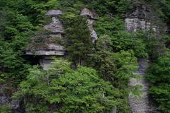 Volcanic rock formations in Shimogo, Fukushima Prefecture, Japan Stock Photos