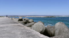 View from jetty lighthouse in Tavira Island inlet, Algarve Stock Footage