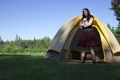 Goth girl out of the tent Stock Photos