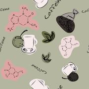 Seamless texture with caffeine - stock illustration