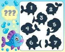 Fish riddle theme image - eps10 vector illustration. Stock Illustration