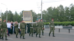 Religious procession on the ninth of June Krasnojarsk with an icon Stock Footage