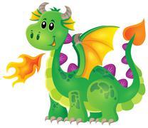 Image with happy dragon theme - eps10 vector illustration. Stock Illustration