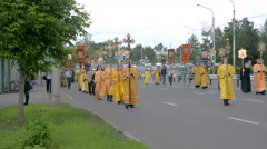 Religious procession on the ninth of June Krasnojarsk Stock Footage