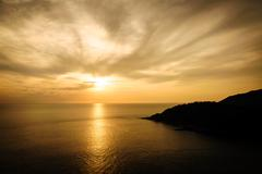 Silhouette with color of the sunset, Phuket Thailand - stock photo