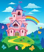 Pink castle theme image - eps10 vector illustration. - stock illustration