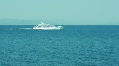 View  White Luxury Yacht In The Sea Stock Footage