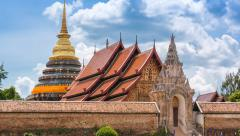 Wat Phra That Lampang Luang Famous Temple Of Lampang, Thailand (zoom out) - stock footage