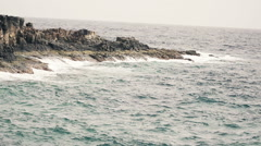 Swell sea with waves and rocks HD Stock Footage