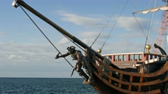 Pirate ship on the sea. Old sailing ship Stock Footage