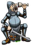 Knight drinking from a goblet Stock Illustration