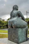"Portugal, Lisbon . Fernando Botero sculpture ""Motherhood "" - stock photo"