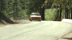 motorsports, hillclimb, short straight, orange Datsun 510 - stock footage