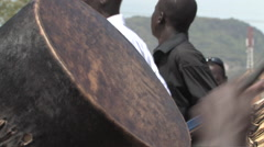 BEATING DRUMS POLITICAL RALLY IN SOUTH SUDAN, AFRICA Stock Footage