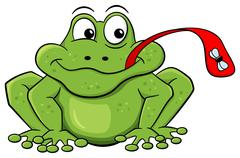 Frog catches fly with his tongue Stock Illustration