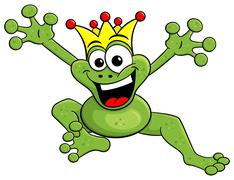 jumping cartoon frog prince isolated on white - stock illustration