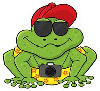 Stock Illustration of frog as a tourist with camera and sunglasses