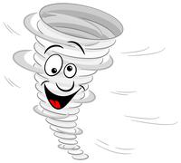 Cartoon tornado on white background Stock Illustration