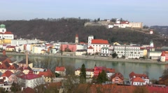 4K footage of Passau, Germany, from the South Stock Footage