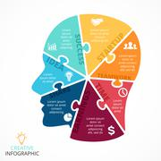 Vector puzzle human face infographic. Cycle brainstorming diagram. Creativity Stock Illustration