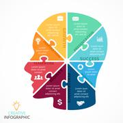 Vector puzzle human face infographic. Cycle brainstorming diagram. Creativity - stock illustration