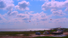 Morning at the windsurf station. Windy Stock Footage