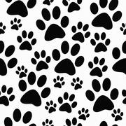 Black and White Dog Paw Prints Tile Pattern Repeat Background Stock Illustration